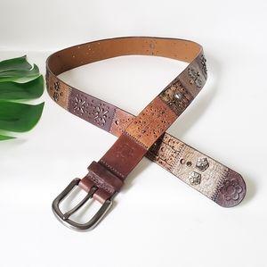 FOSSIL Leather Studded Embellished Belt